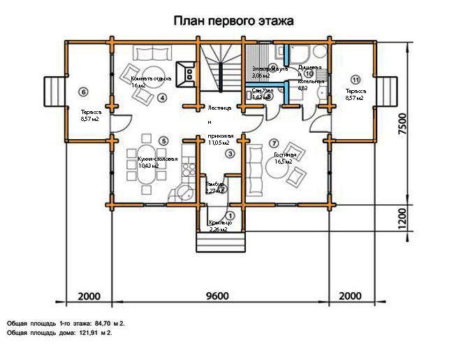 схема планировки дома 120